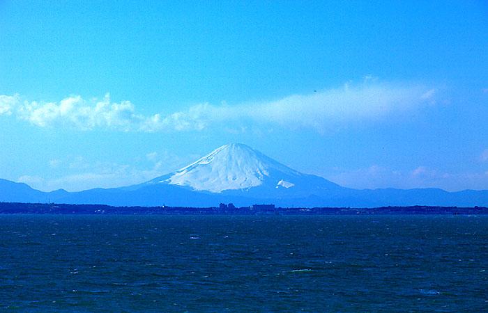 美しい房総勝浦の景色 富士山